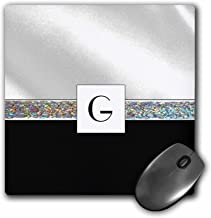 "3dRose Print of Letter G On White Satin N Black with Jewel Band Mouse Pad, 8"" x 8"" (mp_194711_1)"