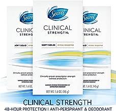Secret Antiperspirant Deodorant for Women, Clinical Strength Soft Solid, Stress Response, 1.6 Oz, Pack of 3