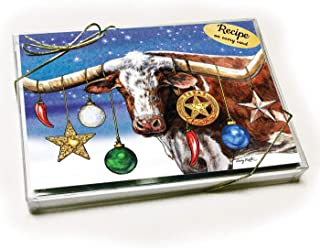 A Texas Longhorn Starry Night Christmas Card with Recipe