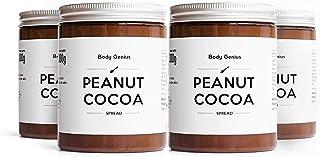 BODY GENIUS Peanut Cocoa. Pack 4x300g. Crema de cacahuete y cacao. Natural, Sin Azúcar Añadido, Sin Aceite de Palma, Edulcorada con Stevia.