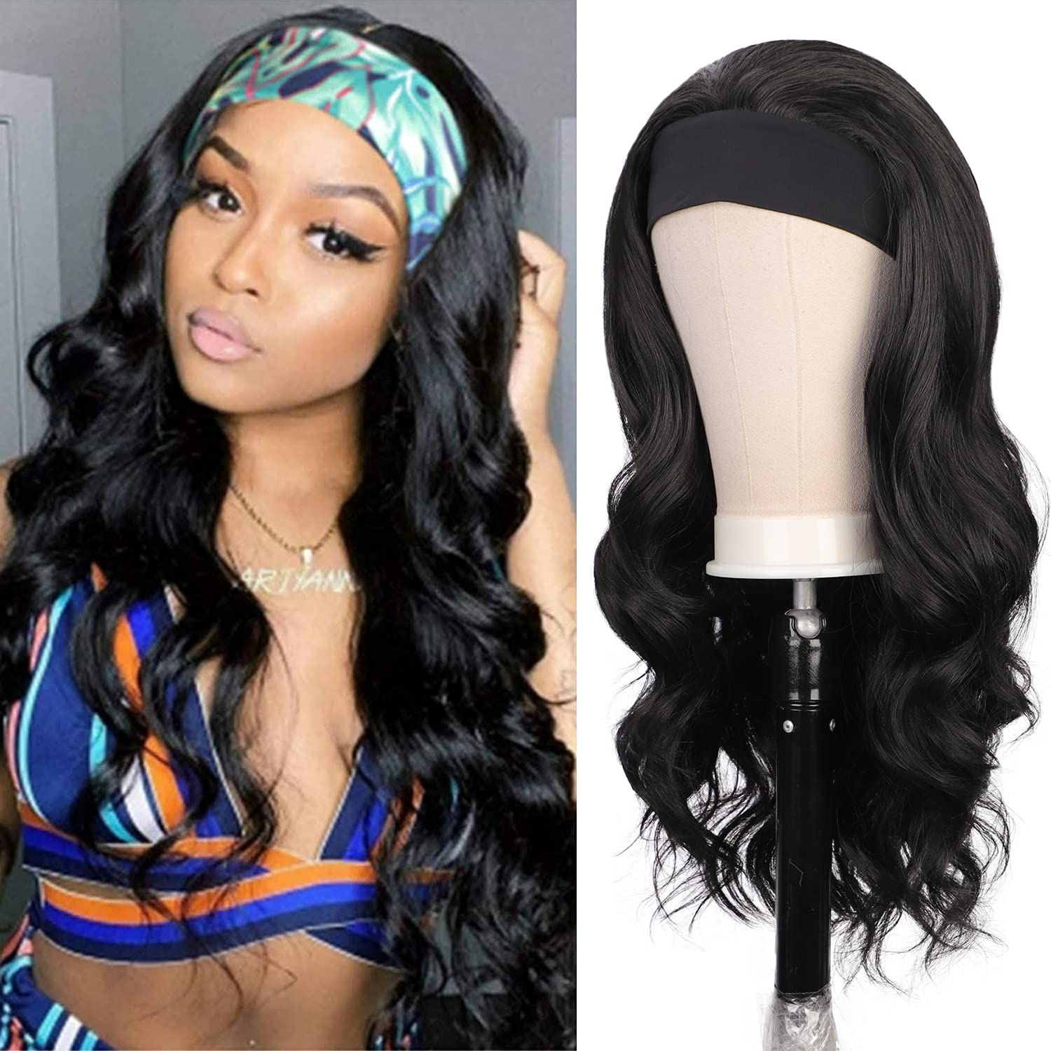 Headband Wig Human online shopping Hair for Wigs Recommended Women Body Glu Black