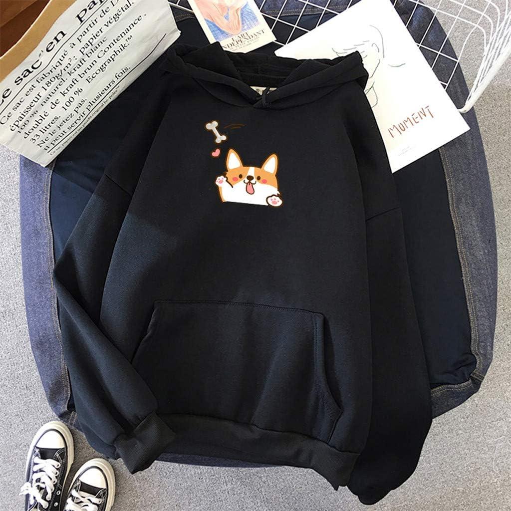 Long Sleeve Pocket Hooded Sweatshirts Cute Cartoon Animal Print Pullover Casual Loose Top Blouse F/_topbu Hoodies for Women