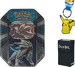 Pokemon Solgaleo GX Tin with Solgaleo GX Pokemon Card, 4 Factory Sealed Pokemon Booster Packs Bundle with Pikachu Keychain and Ultra Pro Deck Box - 3 Items