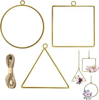 3 delar metall blommig ring guldkrans makramé hantverk ringar makramé guld ringar blommor guld metall ring krans med snöre...