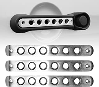 ICARS Silver Door Handle Inserts Front Rear Aluminum Grab Handle Cover Trim for 2007-2018 Jeep Wrangler JK JKU& Unlimited Accessories 2 Door- 3 Pcs