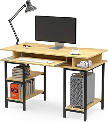 """Mecor Study Writing Computer Desk 47"""" with Keyboard Tray/Shelves PC Laptop Table Study Work-Station for Home Office"""