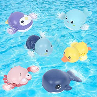 AOLIGE Kids Pool Toys Baby Bath Toys Wind Up for Toddlers Sea Animals Floating Bathtub Toy Pack of 6