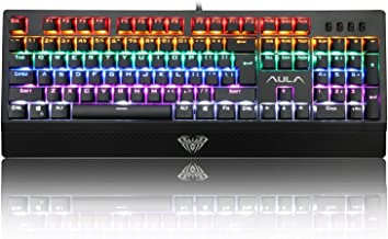 AULA Mechanical Keyboard Wings of Liberty 104keys Multicolors LED Backlit USB Gaming Keyboard with Blue Switches (Black)