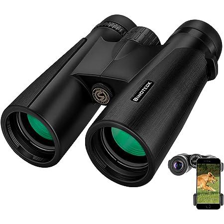 Binoteck 12x42 Binoculars for Adults Weak Light Vision Compact HD Binoculars for Bird-Watching Travel Hunting Concerts Opera Sports BAK4 Prism FMC Lens with Phone Mount Strap Carrying Bag