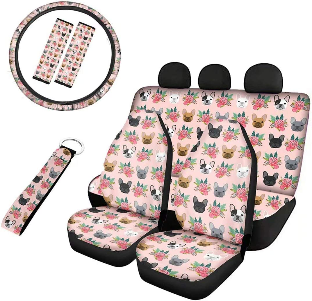 Advocator Galaxy Wolf Car Seat Cushion with Seatbelt Covers+Key Chain+15 inch Steering Wheel Cover Full Set of 8pcs Universal Car Interior Decorative for Women Ladies Gifts