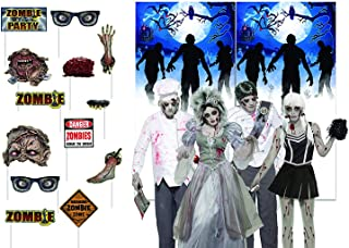 Halloween Zombie Party Photo Booth Props with Zombie Selfie Backdrop