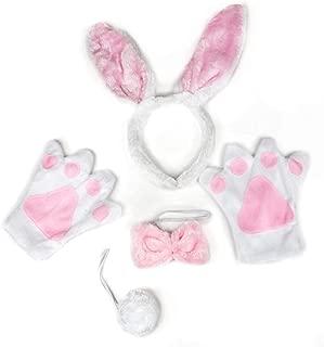 Petitebella White Pink Bunny Headband Bowtie Tail Glove 4pc Children Costume