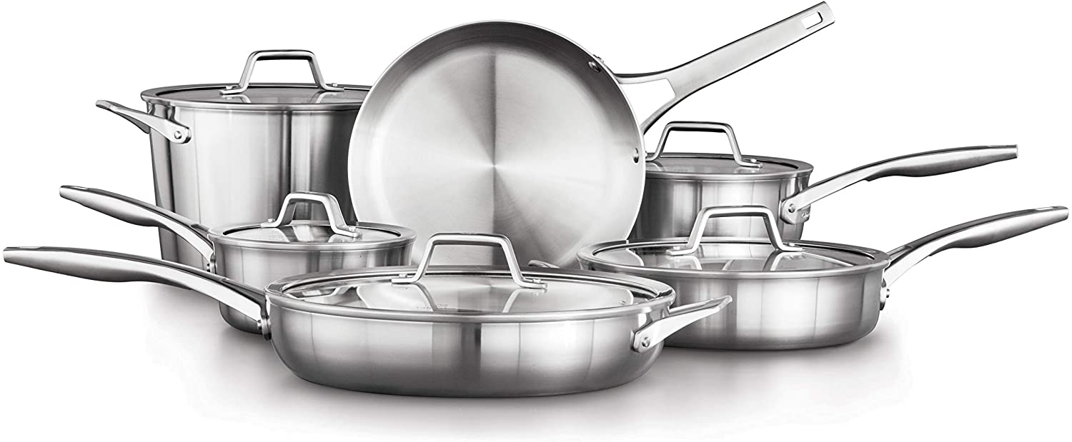 A surprise price is realized Calphalon Premier Max 68% OFF Stainless Steel Pots 11-Piece and Cookwa Pans