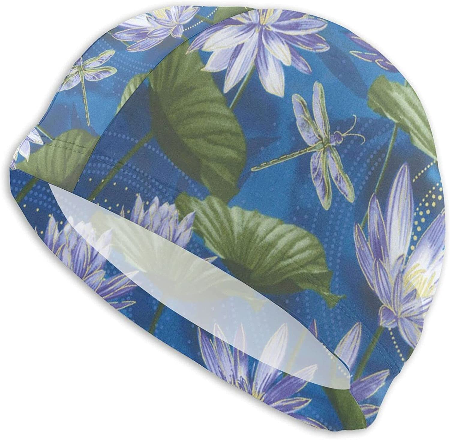 Jeezshop Fashion List price Water Lily and Dragonfly SEAL limited product Me Women Caps for Swim