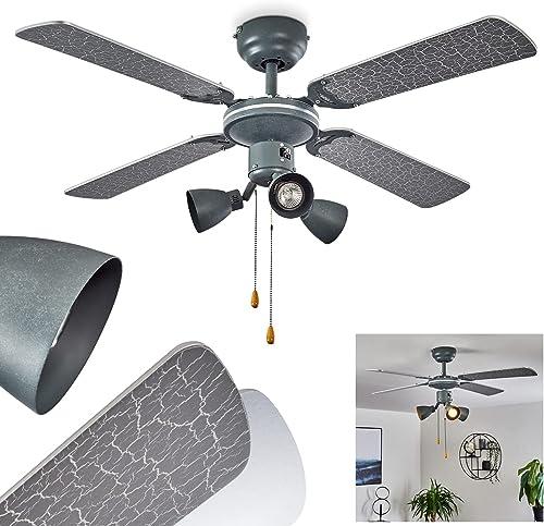 Ventilateur lumineux Marigliano en métal & bois gris argenté contrôlables par 2 tirettes, 3 spots orientables, ventil...