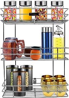 Cheshtha Stainless Steel Multipurpose Storage Rack/Shelf, 3 Layer Kitchen Rack, Bathroom Shelves and Rack Steel, Wall Moun...