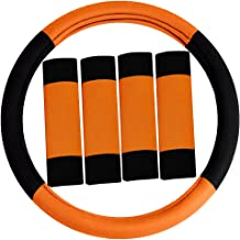 FH Group FH2033ORANGE Steering Wheel Cover (Modernistic and Seat Belt Pads Combo Set Orange)