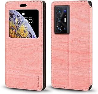 جراب Vivo X70 Pro Plus ، حافظة من الجلد المحبب الخشبي مع حامل بطاقات ونافذة ، غطاء قلاب مغناطيسي لهاتف Vivo X70 Pro + (6.7...