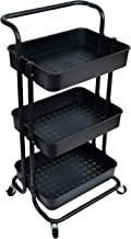 NiDream Bedding 3-Tier Utility Storage Cart, Utility Cart with Lockable Wheels, Multifunction Storage Trolley Utility Cart with Mesh Basket and Handles, Easy Assembly for Kitchen, Bathroom, Black