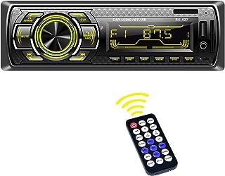 Radio Coche, LSLYA Radio Coche 1 din, Radio Coche Bluetooth con Llamadas Manos Libres, Radio Estéreo de Coche 7 Colores Ap...