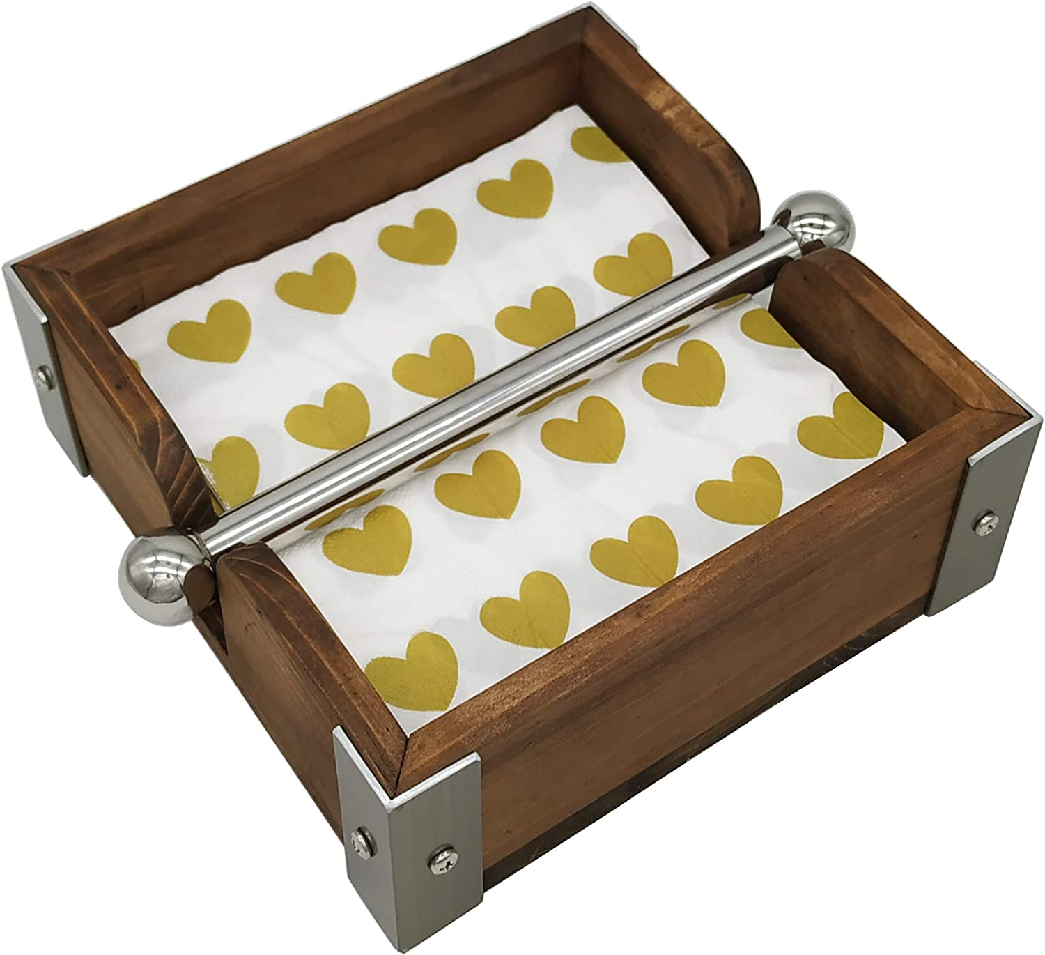 OwlGift outlet Vintage Wood Napkin Holder Weighted 2021new shipping free Stainless Steel w Ce