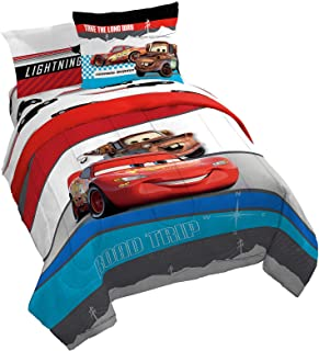 Disney Pixar Cars Racing Machine 7 Piece Queen Bed Set - Includes Comforter & Sheet Set - Bedding Features Lightning McQueen - Super Soft Fade Resistant Microfiber (Official Disney Pixar Product)