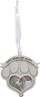 Cathedral Art CO845 Who Rescued Who Pet Memorial Photo Ornament, 2-1/2-Inch