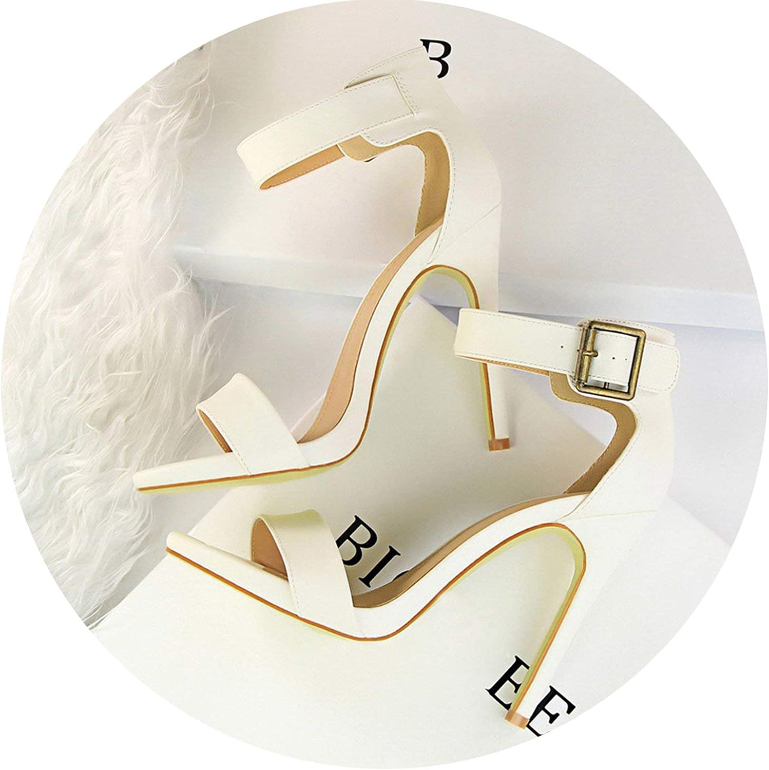 HANBINGPO 2019 Women Newest Classic 11cm High Heels Fetish Soft Leather Sandals Female Gladiator Summer shoes Lady Nude Sexy Pumps