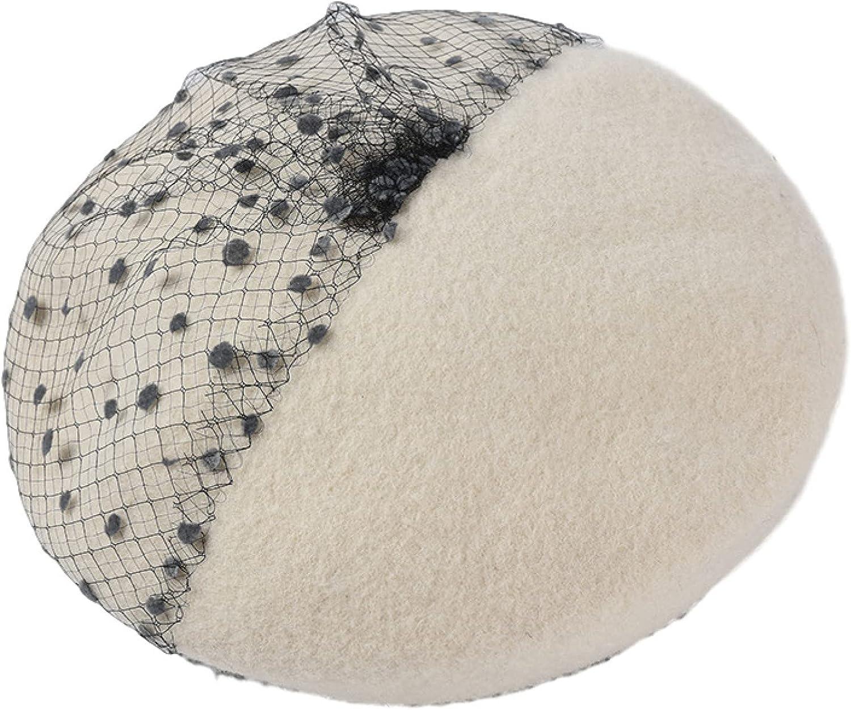 Women's Solid Color Polka Dot Berets Hats with Veil Fashion Elastic Wool Blend Girl Pumpkin Newsboy Cap