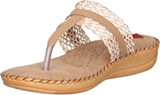 1 Walk Comfortable Synthetic Leather Doctor Sole Women's Flats - Beige