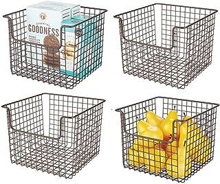 mDesign Panier de Rangement en Fil de Fer (Lot de 4) – Petite boîte en métal Flexible pour la Cuisine, Le Garde-Manger, et...