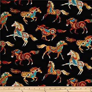 Timeless Treasures 0461717 Out West Southwest Horses Fabric by The Yard, Black
