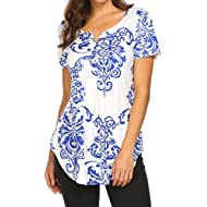 Defal Women Summer Short Sleeve V Neck Paisley Floral Print Blouses Shirts Casual Irregular Hem...