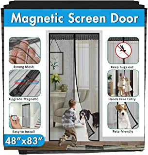 "Magnetic Screen Door IKSTAR Double Instant Mesh Curtain with Full Frame Magic Tape Mesh Door Cover for Front Door and Home Outside Kids/Pets Walk Through Easily Fit Door Size Up to 46""x82"" Max"