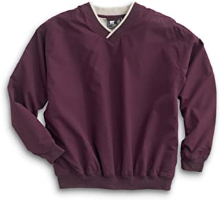 Men's Fully Lined V-Neck Golf and Wind Shirt - Burgundy/Putty, 3X-Large
