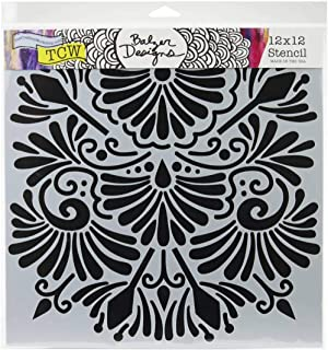 The Crafters Workshop Set of 2 Stencils Lavender Includes 1 Each TCW860 and TCW860s Bundle 2 Items 12x12 Large and 6x6 inch Mini