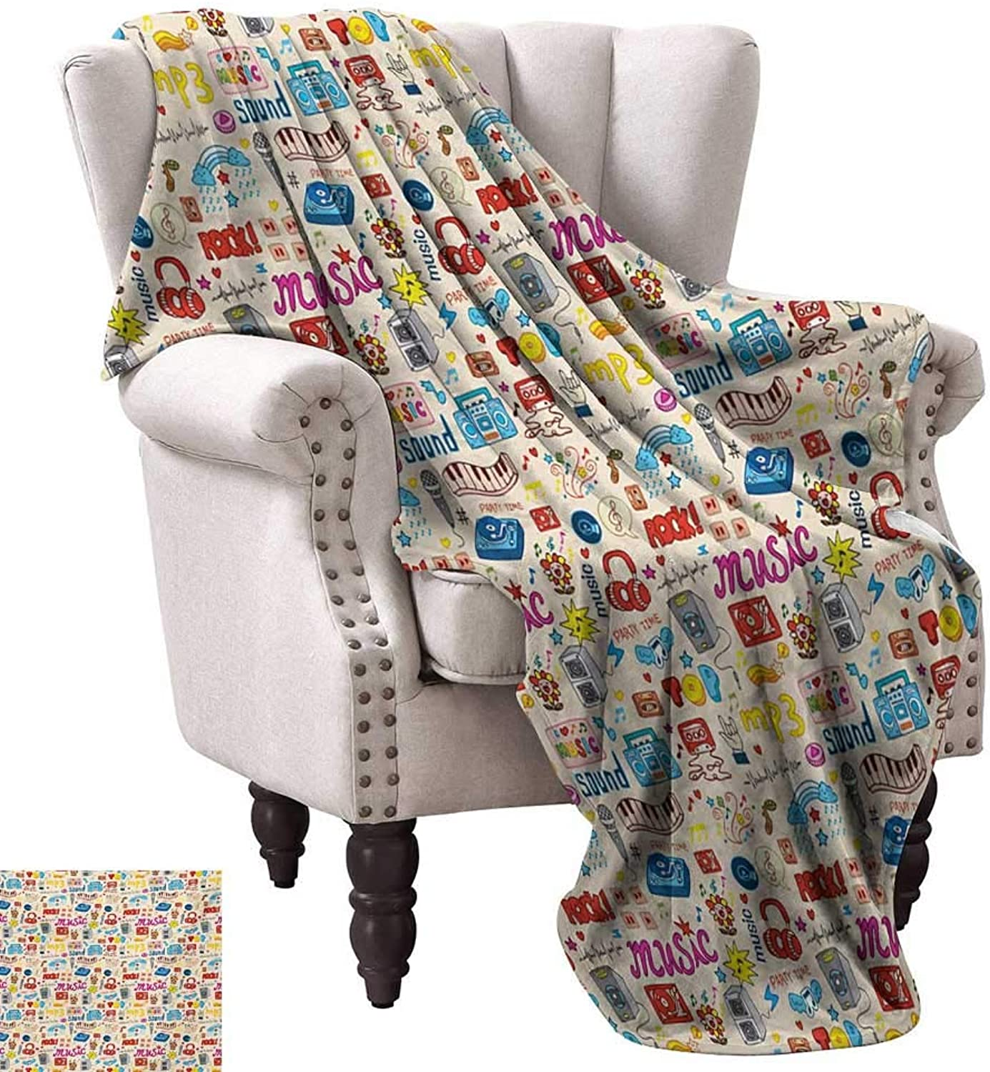 Anyangeight Weave Pattern Extra Long Blanket,Retro Pop Art Style Music Icons Casette Tapes Records Rock Headphones DJ Kids Image 70 x60 ,Super Soft and Comfortable,Suitable for Sofas,Chairs,beds