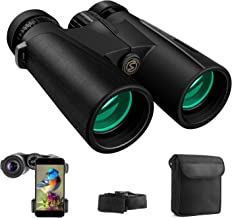 Cayzor 12x42 Binoculars for Adults Compact HD Light Night Vision Clear Bird-Watching - Professional for Travel Stargazing Hunting Concerts Sports - BAK4 Prism FMC Lens Phone Mount Strap Carrying Bag