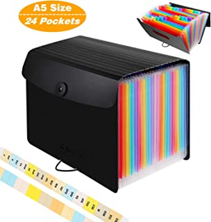 Accordian File Organizer A5 Small Size,10 x 5.5 Inches/24 Pockets Expanding File Folder/Portable Filing Box/Expandable File Storage Wallet/Plastic Accordion Document Bill Receipt Coupon Organizer