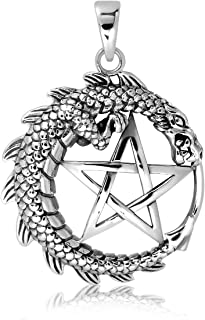 WithLoveSilver 925 Sterling Silver Pentacle Dragon Wing Pendant