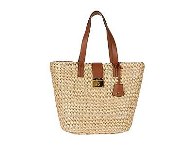 LAUREN Ralph Lauren Heritage Lock Structure Straw Reese 17 Tote Large (Natural/Lauren Tan) Handbags