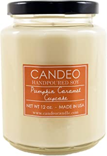 Pumpkin Caramel Cupcake, Handpoured Soy Candle Jar, Made in The USA, 12 oz Jar Candle