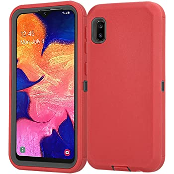 360/° Hybrid Full Protective Hard Case Tempered Glass Screen Protector for Samsung Galaxy A10E Red