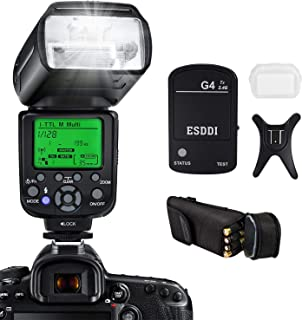 ESDDI I-TTL Flash Speedlite para Nikon Kit Profesional de Flash con Disparador de Flash Inalámbrico 1/8000 HSS Flash Inalámbrico Speedlite GN58 2.4G Radio Inalámbrico Master Slave para Nikon DSLR
