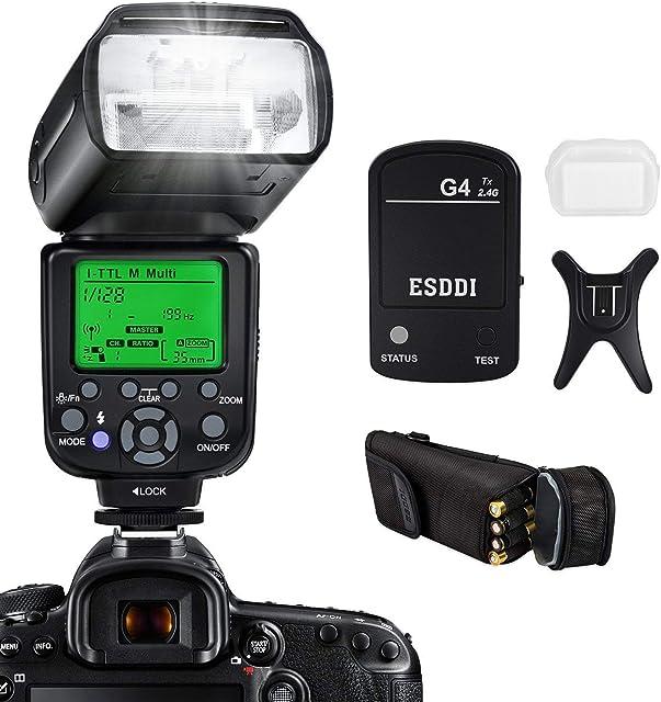 ESDDI I-TTL Flash Speedlite para Nikon Kit Profesional de Flash con Disparador de Flash Inalámbrico 1/8000 HSS Flash Inalámbrico Speedlite GN58 2.4G Radio Inalámbrico Master Slave para Nikon DSLR