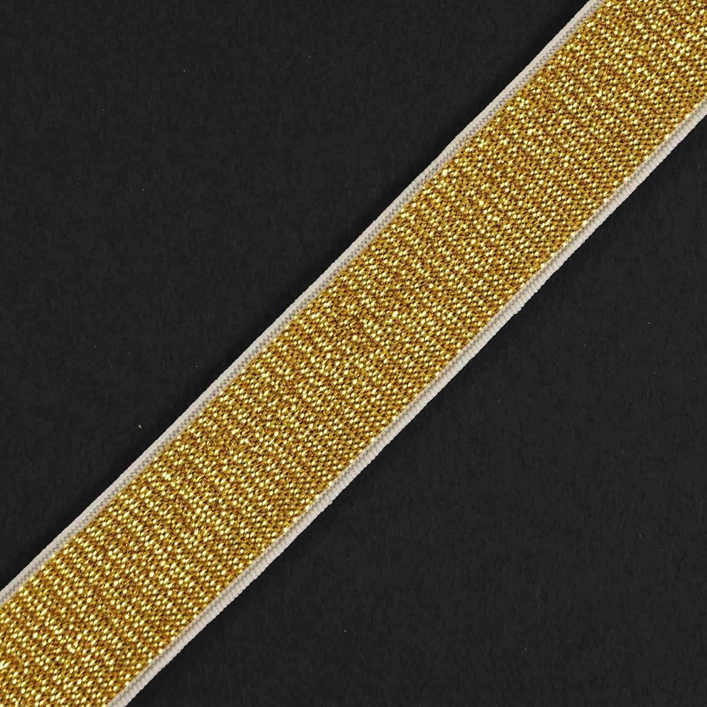 Trim 4-Yards 20mm (3/4'') Metallic Elastic Stretch Ribbon, Elastic Band, TR-11639 (Gold/White) r41741679490