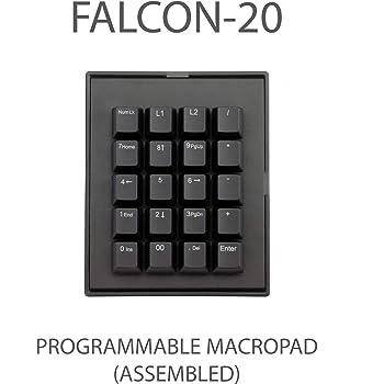 Max Keyboard Falcon-20 Programmable Macropad Mechanical Keyboard, Backlit Multicolor LED, Cherry MX RGB Switch (Cherry MX RGB Brown)