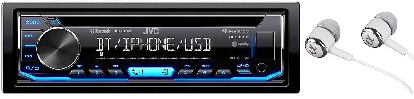 JVC KD-TD70BT Single DIN Bluetooth in-Dash CD AM/FM USB Auxiliary Digital Media Car Stereo Receiver w/LCD Text Display Pandora/Spotify/iHeartRadio/iPhone Control/Free ALPHASONIK Earbuds