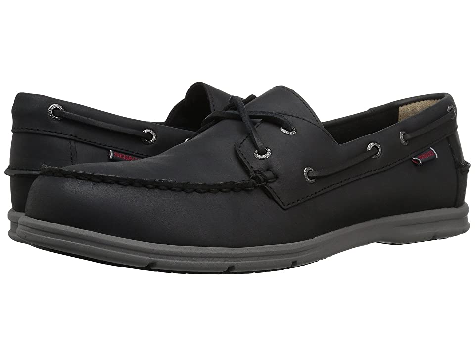 Sebago Litesides Two Eye (Black Leather/Grey Outsole) Men