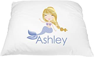 Personalized Blonde Mermaid Pillowcase Microfiber Polyester Standard 20 by 30 inches, Name Pillow for Girls, Custom Pillowcase, Kids Bedding Pillows, Kids Pillowcase, Mermaid Bedding for Girls